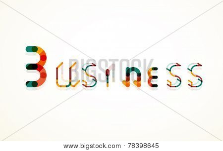 Business word keyword font, minimal line design