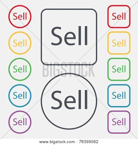 Sell Sign Icon. Contributor Earnings Button. Set Of Colored Buttons. Vector