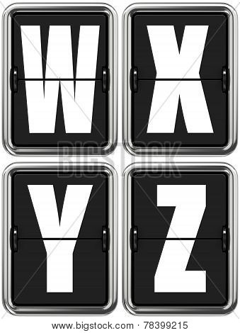 Letters W X V Z on Mechanical Scoreboard.
