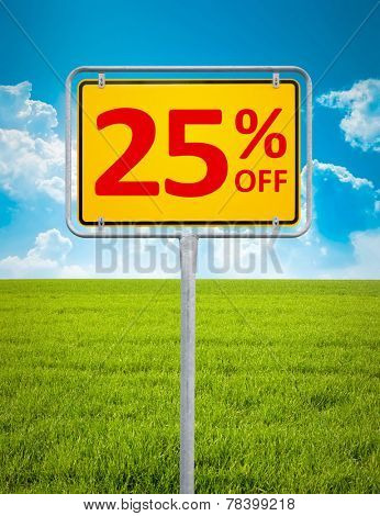 An image of a german city sign with the text 25 percent sale