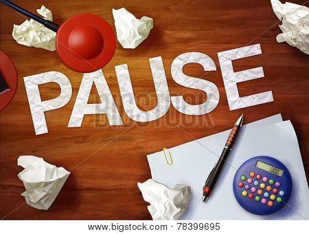 Pause Desktop Memo Calculator Office Think Organize