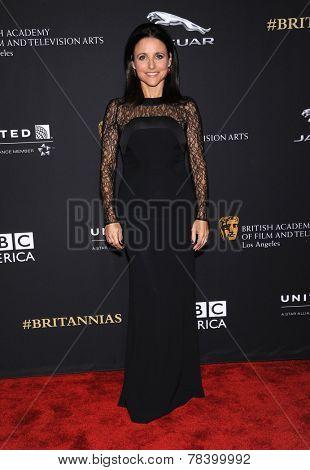 LOS ANGELES - OCT 30:  Julia Louis-Dreyfus arrives to the BAFTA Jaguar Brittannia Awards 2014 on October 30, 2014 in Beverly Hills, CA