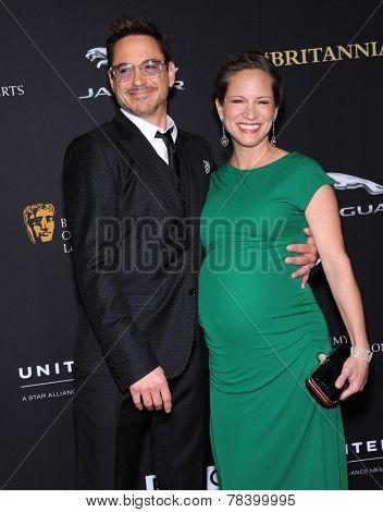 LOS ANGELES - OCT 30:  Robert Downey Jr & Susan Downey arrives to the BAFTA Jaguar Brittannia Awards 2014 on October 30, 2014 in Beverly Hills, CA