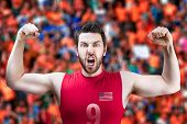 picture of volleyball  - American volleyball player celebrates on volleyball court - JPG