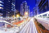pic of hong kong bridge  - traffic in city at night - JPG