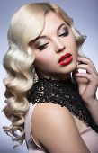 image of birthmark  - Beautiful blonde in a Hollywood manner with curls - JPG
