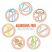 stock photo of wheat-free  - Vector icons set for allergens free products  - JPG