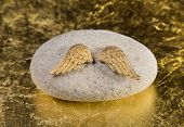 picture of christening  - Stone with golden angel wings - JPG