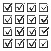 foto of confirmation  - Vector set of black confirm icons set for check box design - JPG