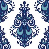 stock photo of indian blue  - Vintage oriental damask seamless vector floral pattern - JPG