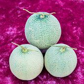 pic of cantaloupe  - cantaloupe melons put on the paper background - JPG