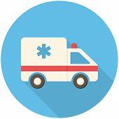 stock photo of ambulance car  - Ambulance car modern flat icon with long shadow - JPG