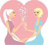 foto of lesbian  - Valentines day greeting card with Lesbian Couple In Love - JPG