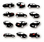 stock photo of car symbol  - Set of Car Silhouettes Vector 12 different models - JPG