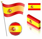 pic of flag pole  - Spanish flag on a pole badge and isometric designs vector illustration - JPG