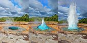 stock photo of hot water  - Collage showing different phases of the action of the geyser - JPG