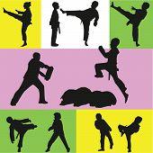 pic of taekwondo  - taekwondo training with a coach boys and girls - JPG