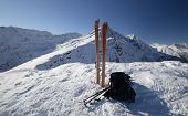 image of avalanche  - On the top of the mountain pair of back country  - JPG