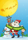 image of elf  - Illustration of a christmas card with Santa and elf - JPG