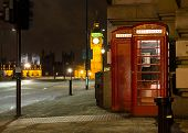 picture of phone-booth  - Red Phone Booth London Big Ben Background At Night - JPG