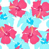 image of hibiscus  - Vector seamless pattern with red and blue hibiscus - JPG