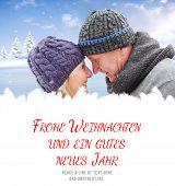 pic of weihnachten  - mature winter couple against frohe weihnachten message - JPG