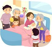 stock photo of geriatric  - Illustration of a Family Welcoming the Birth of a New Baby - JPG