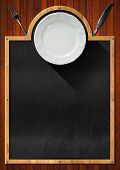pic of knife  - Blackboard with wooden frame empty white plate and silver cutlery fork and knife on a wooden wall - JPG