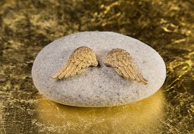 foto of christening  - Stone with golden angel wings - JPG