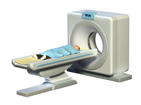 picture of cat-scan  - Patient preparing for a computerized axial tomography scan - JPG