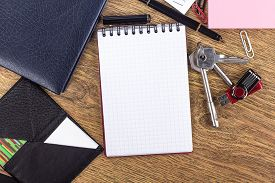image of passport template  - open notebook with pen on desktop background - JPG