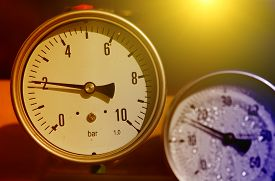 picture of barometer  - Close up of barometer in natural gas production industry - JPG