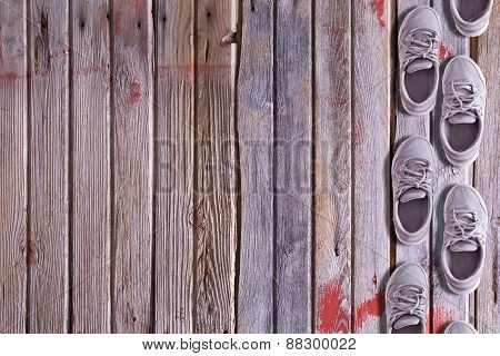 Shoe Border On A Wood Background