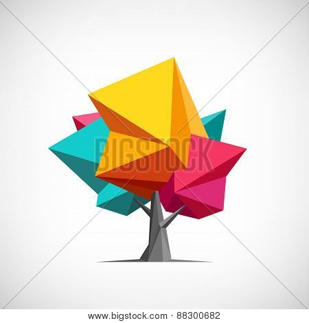 Conceptual polygonal tree. Abstract vector Illustration, low poly style.