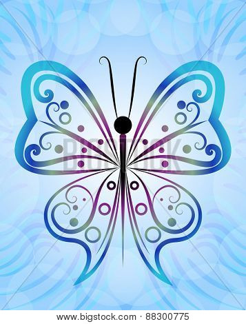 Abstract butterfly outline blue background.