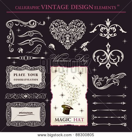 calligraphic elements vintage vector set. holiday patterns frameworks and swirls