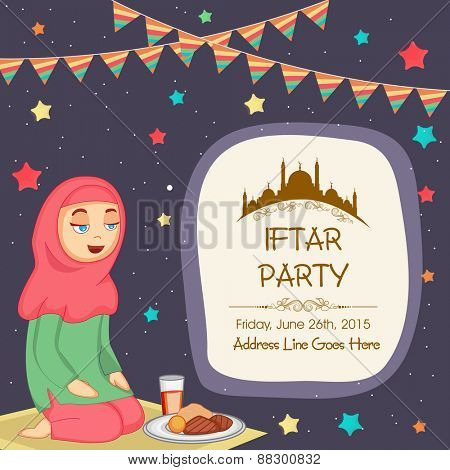 Religious Muslim girl in hijab, concept for Iftar Party celebrations in the holy month of prayers, Ramadan Kareem.