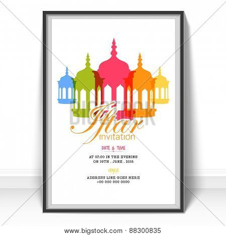 Islamic holy month of prayers Ramadan Kareem celebrations, Invitation card design for Iftar Party with colorful lanterns on white background.