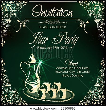 Invitation card design for Iftar Party celebrations with beverage in the holy month of prayers, Ramadan Kareem celebrations.