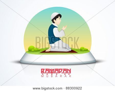 Islamic holy month of prayer, Ramadan Kareem celebration with illustartion of a boy offering Namaz (Muslim Prayer).