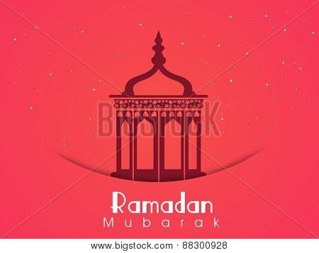 Beautiful Arabic lantern or lamp on pink background for holy month of Muslim community Ramadan Kareem celebration.