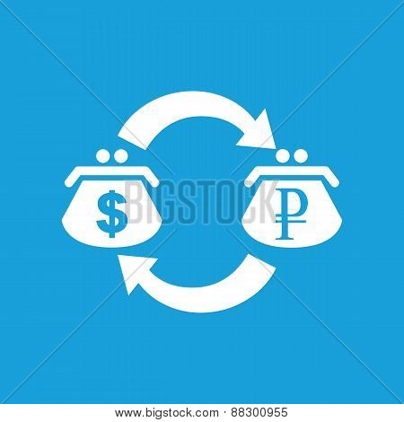 Dollar rouble exchange white icon