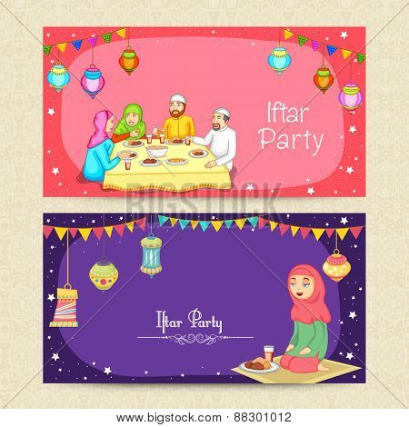 Website header or banner set with Muslim people and Arabic lanterns for Islamic holy month, Ramadan Kareem Iftar Party celebration.