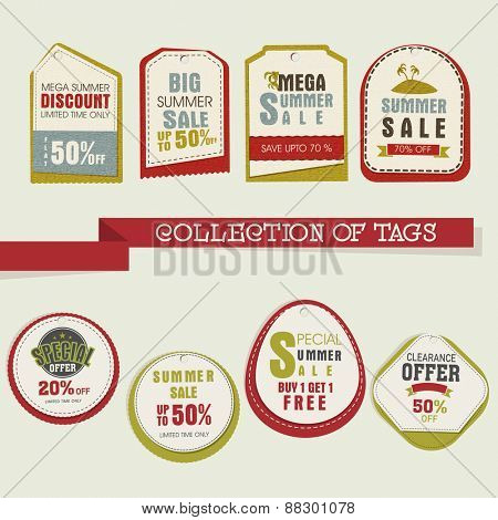 Collection of stylish tags or labels for Mega Summer Sale with flat discount offer.