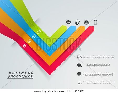 Colorful business infographic paper stripes to present data information.