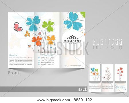 Professional trifold brochure, catalog and flyer template for business purpose with flowers decoration.