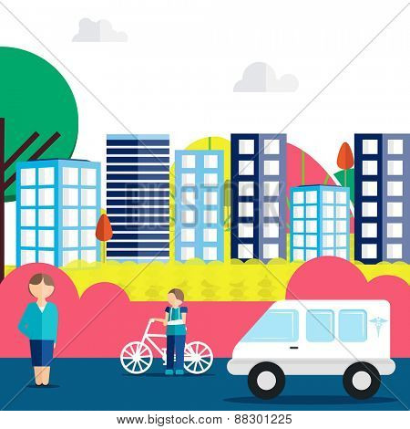 View of urban city road with illustration of a injured boy, a lady and an ambulance for Health and Medical concept.