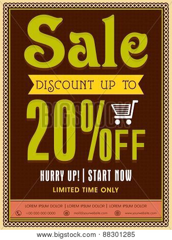 Limited Time Sale poster, banner or flyer design with discount offer.
