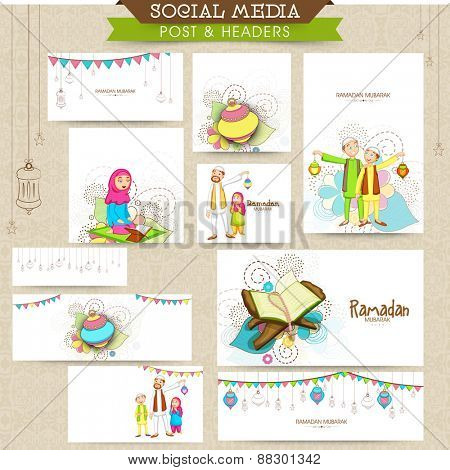 Social media ads, header or banner set with Islamic elements for holy month of Muslim community Ramadan Kareem celebration.