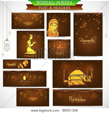 Beautiful social media ads, header or banners for holy month of Muslim community, Ramadan Kareem celebration.
